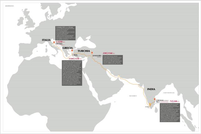 mappa viaggio reliquie tommaso