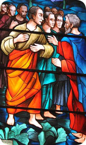 Tommaso e gli apostoli (vetrata Basilica)